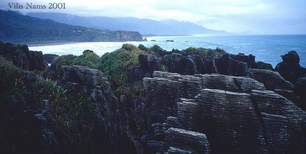 From Print to Ebook for Cry of the Kiwi: A Family's New Zealand Adventure: Pancake Rocks, Punakaiki, South Island, New Zealand (© Vilis Nams)