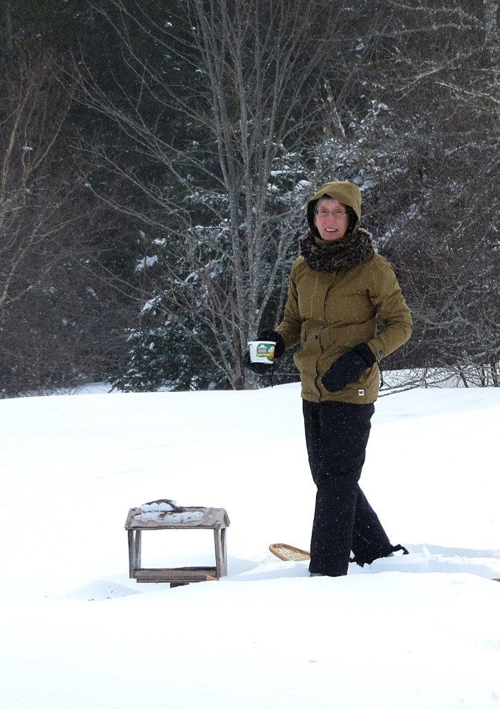 Groundhogs and Waiting for Spring: Feeding the birds on snowshoes! (© Vilis Nams)