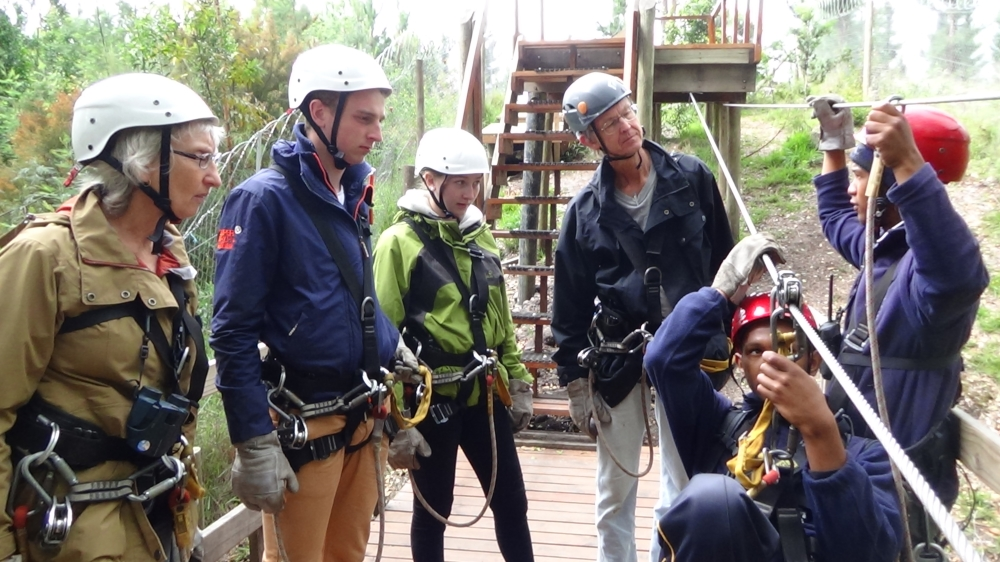 Six Months in South Africa: Tsitsikamma Forest Canopy Tour: Briefing on Launch Platform of Forest Canopy Zip Line (Stormsriver Adventures photo)