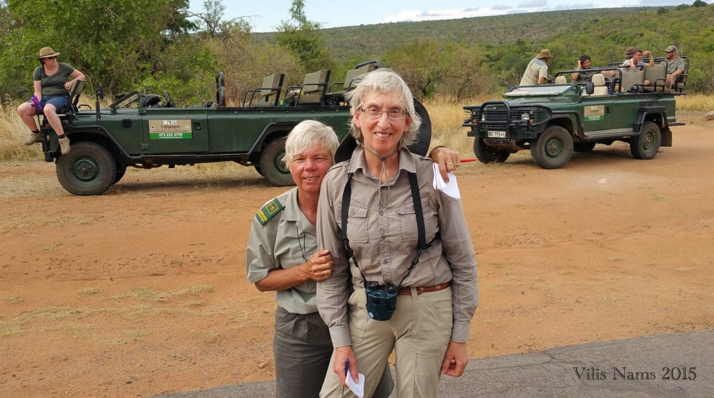 Reading African Animal Tracks and Sign: Here I am with bird expert, Janesta Pullela (© Vilis Nams)
