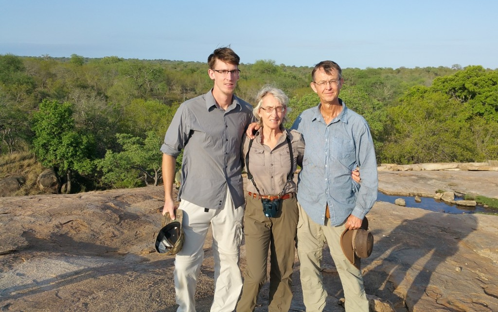 Six Months in South Africa: Kruger National Park: Jānis, I, and Vilis at Morning Walk Rest Stop (photo courtesy of SANParks guide)