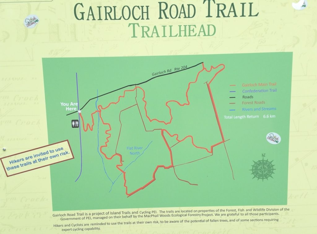 Hiking in Canada: Gairloch Road Trail, Prince Edward Island: Gairloch Road Trail Map