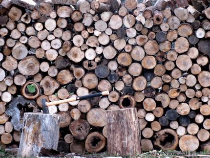 wood pile and splitting maul